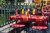 Colorful French terrace in isle de la sorgue — Stock Photo