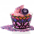 Pink cupcake with rose flower — Stock Photo