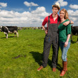 Typical Dutch landscape with farmer couple and cows — Stock Photo