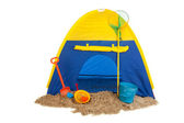 Tent in blue and yellow — Stock Photo