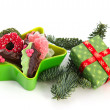 Christmas chocolate candy with present — Stock Photo