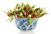 Antique Dutch bowl with tulips — Stock Photo