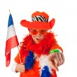 Dutch woman with flag as soccer fan — Stock Photo