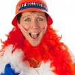 Dutch woman as soccer fan — Stock Photo