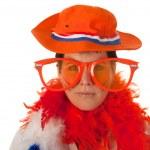 Dutch woman in orange as soccer fan — Stock Photo #8768488