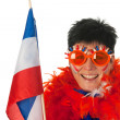 Dutch woman with flag as soccer fan — Stock Photo #8768491