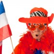 Dutch woman with flag as soccer fan — Stock Photo #8768494