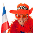 Dutch woman with flag as soccer fan — Stock Photo #8768498