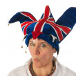 Woman with Brittain funny hat — Stock Photo