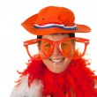 Dutch woman in orange as soccer fan — Stock Photo #8973491