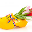 Dutch wooden clogs with tulips — Stock Photo #9274463
