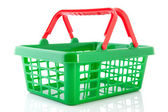 Green plastic shopping basket — Stock Photo