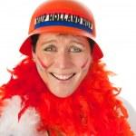 Dutch woman as soccer fan — Stock Photo