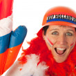 Dutch woman as soccer fan - Stock Photo