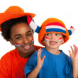 Young Dutch soccer supporters — Stock Photo