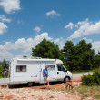 Stock Photo: Mis traveling by mobile home