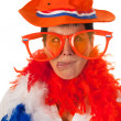Dutch woman in orange as soccer fan — Stock Photo #9577890