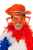 Dutch woman in orange as soccer fan — Stock Photo
