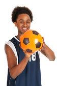 Black basketball player with ball — Stock Photo
