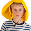 Portrait boy with rain hat — Stock Photo