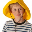 Portrait boy with rain hat — Stockfoto
