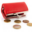 Red purse with euro coins — Stock Photo #9883743