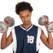 Young boy doing workout — Stock Photo