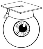 Outlined Eye Ball Cartoon Character — Stock Photo