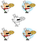 Pizzeria Chef Holding A Pizza — Stock Photo