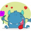 Happy Blue Monster Holding A  Flower - Foto Stock