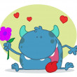 Happy Blue Monster Holding A  Flower - Stock Photo