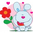 Happy Bunny Holds Flower - Foto Stock