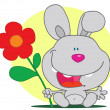 Bunny Holds Flower - Foto de Stock