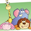 Four Cartoon Jungle Animals - Foto Stock