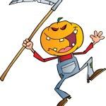 Halloween Pumpkin Head Jack With A Scythe — Stock Photo