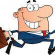Foto Stock: Businessman Running To Work With Briefcase