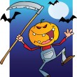 Foto Stock: Happy Halloween Over Grinning Scarecrow Reaper With Scythe