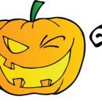 Halloween Text With Pumpkin Winking — Stock Photo #8244313