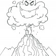 Coloring Page Outline Of An Evil Ash Cloud — Stock Photo