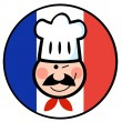 Stock Photo: Winking Chef Face On French Flag Circle