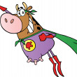 Super Hero Cow Fly — Stock Photo