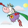 White Super Hero Cow Flying — Stock Photo