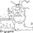 Outlined Ugly Halloween Witch Preparing A Potion - Stock Photo