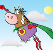 Brown Super Hero Cow Flying — Stock Photo