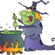 Ugly Halloween Witch Preparing A Potion - Stock Photo
