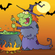 Ugly Witch Preparing A Potion In Halloween Night - Stock Photo