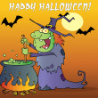 Happy Halloween Over A Witch Stirring A Potion Under Bats On Orange - Stock Photo