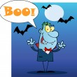 Happy Vampire With Speech Bubble And Text Boo — Stock Photo #8244522