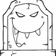Laughing Outlined Evil Headstone - Stock Photo