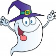 Scaring Ghost Holding His Hands Up And Wearing A Witch Hat - Stock Photo